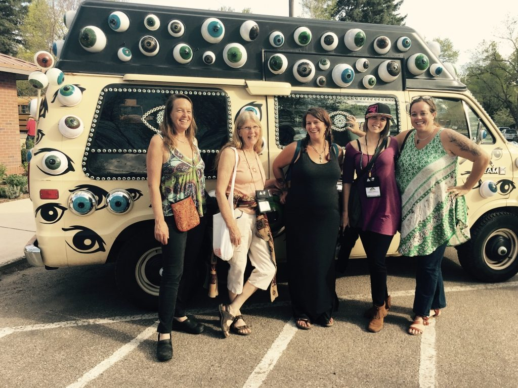 NFV team in front of an art car at the Colorado Creative Summit in Carbondale!