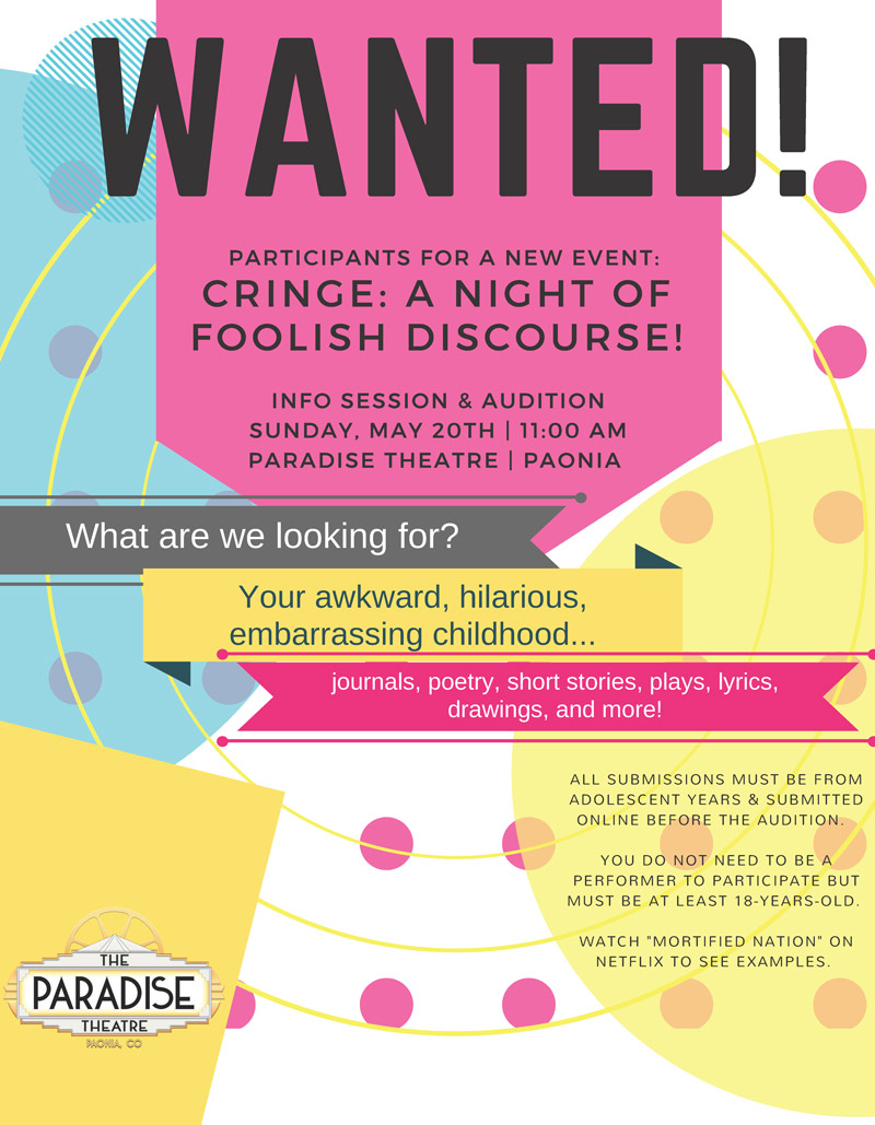 Auditions - Cringe: A Night of Foolish Discourse - Paonia