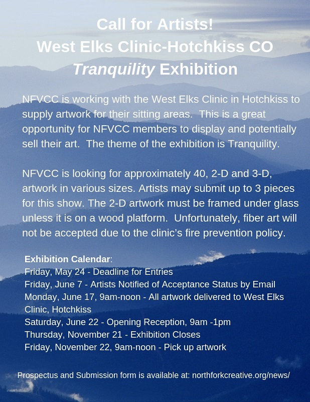 Open Call for Artists! West Elks Clinic-Hotchkiss - Paonia